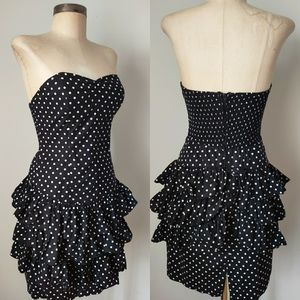 Vintage Dresses - 80s Vtg Strapless Ruffled Blac Polka Dot Dress xs